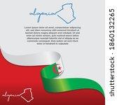 Algeria Flag And Map. Waving...