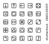 arrows square basic line icons...