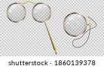 gold monocle on a cord  gold...   Shutterstock . vector #1860139378