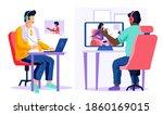 guys listening to music.... | Shutterstock .eps vector #1860169015