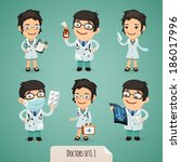 doctors cartoon characters set1.... | Shutterstock .eps vector #186017996