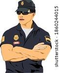 policeman on duty. 3d vector... | Shutterstock .eps vector #1860244015