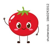 cute happy red tomato character....   Shutterstock .eps vector #1860292012