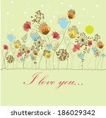 vector greeting card with... | Shutterstock .eps vector #186029342