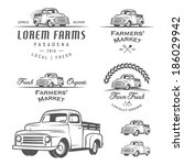 set of retro farming labels ... | Shutterstock .eps vector #186029942