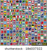 220 flags of the world ... | Shutterstock .eps vector #186037322