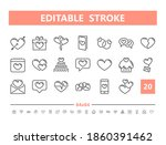 love and romance 20 line icons. ... | Shutterstock .eps vector #1860391462