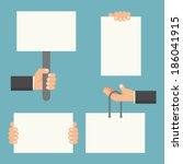 hand holding blank paper  vector | Shutterstock .eps vector #186041915