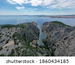 Zavratnica in Croatia. It is a 900 m long narrow inlet located at the foot of the mighty Velebit Mountains, in the northern part of the Adriatic Sea, 1 km south of Jablanac, Croatia.