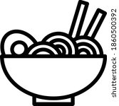 noodle vector icon in outline...