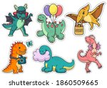 set of stickers cute dinosaurs... | Shutterstock .eps vector #1860509665