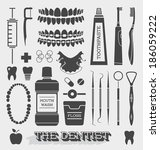 vector set  dentist and tooth...