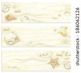 set of banners summer beach... | Shutterstock .eps vector #186062126