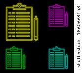 paper  pen icon neon color set...