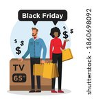 couple with a lot of bags after ... | Shutterstock .eps vector #1860698092