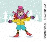 girl walking in the snow | Shutterstock .eps vector #1860705265