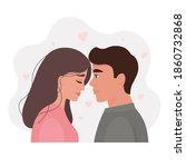 portrait of a romantic couple...   Shutterstock .eps vector #1860732868