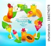 summer tropical fruit juice... | Shutterstock .eps vector #186074078