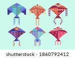 set of multicolored kites... | Shutterstock .eps vector #1860792412