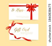 gifts cards with red gift bows...   Shutterstock .eps vector #1860838675