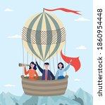 hot air balloon with passengers ...   Shutterstock .eps vector #1860954448
