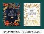 happy holidays greeting card... | Shutterstock .eps vector #1860962608