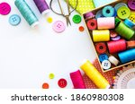 sewing accessories and fabric... | Shutterstock . vector #1860980308