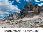 Scenic view of Dolomites mountains with dramatic clouds. Sella Ronda, Italy, Europe. - stock photo