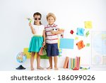 little boy and girl ready for... | Shutterstock . vector #186099026