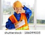 portrait of a little man... | Shutterstock . vector #186099035