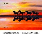 Black Silhouette Of Horses On...