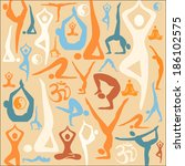 yoga silhouette icons pattern... | Shutterstock .eps vector #186102575