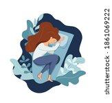 sleepy awake woman in bed... | Shutterstock .eps vector #1861069222