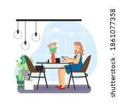 daily life. young woman having... | Shutterstock .eps vector #1861077358