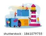 characters work in seaport... | Shutterstock .eps vector #1861079755