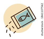 pet fish feed vector icon. pet...