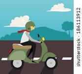 motorcycle illustration   Shutterstock .eps vector #186113912