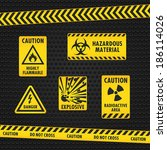 hazard warning tape and labels | Shutterstock .eps vector #186114026