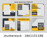 set of editable minimal square... | Shutterstock .eps vector #1861151188