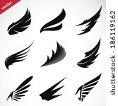 vector black wing icons set on... | Shutterstock .eps vector #186119162