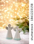 Ceramic Christmas Angels. Set...