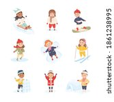 children enjoying winter fun...   Shutterstock .eps vector #1861238995