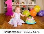 celebrating first birthday | Shutterstock . vector #186125378