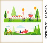 backyard bbq and picnic in the... | Shutterstock .eps vector #186126422