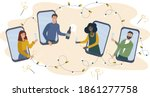 online party. friends celebrate ... | Shutterstock .eps vector #1861277758