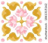 Ceramic Tile Pattern With Lotus....
