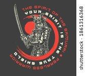samurai vintage emblem with...   Shutterstock .eps vector #1861316368