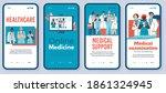 cartoon doctor team on mobile... | Shutterstock .eps vector #1861324945