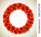 Wreath Of Red Poppies  Floral...