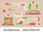 young boy and girl cooking in... | Shutterstock .eps vector #1861346218